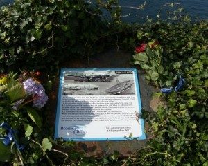 Memorial Plaque secure and surrounded by ivy and flowers on Bromore Cliffs